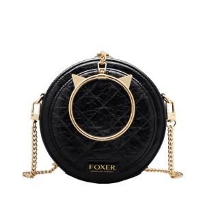 Купить Круглая сумка черная через плечо с ручкой-кольцом кожаная женская Foxer, Fashion round Киев Харьков Одесса Львов Украина