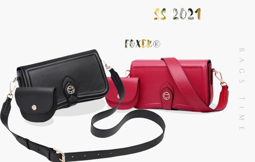 Хочу дві! Жіноча сумка через плече прямокутної форми з навісним гаманцем від FOXER®. Весна-Літо 2021.