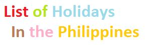 list of holidays in the philippines