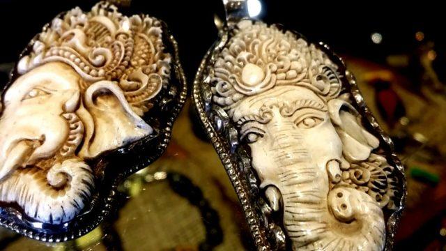 ガネーシャボーン彫刻
