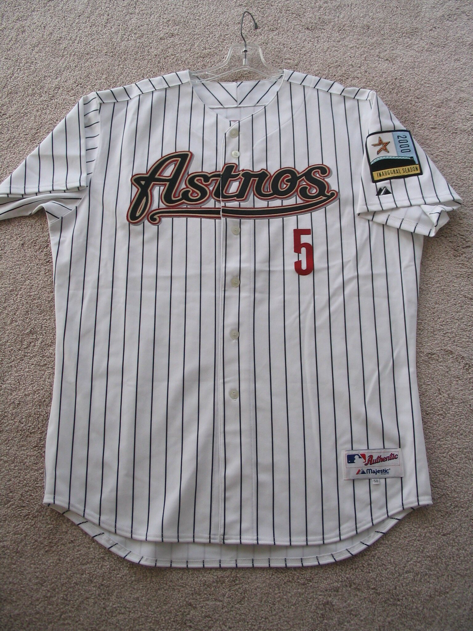Jeff Bagwell 2000 Home Pinstripe Jersey with Autograph