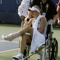 Sabine Lisicki sprains her ankle on match point.