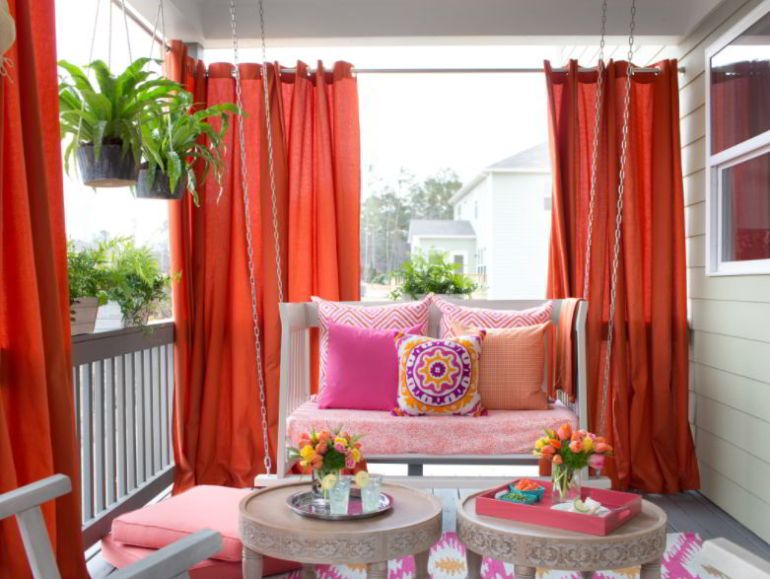 Colorful patio curtain ideas