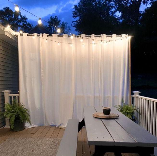 Long sheer patio curtain