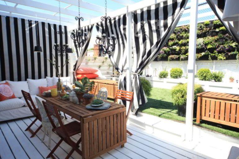 Monochrome patio curtain ideas