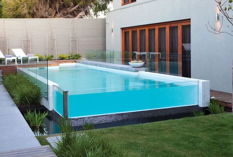 Modern Glass Pool Deck Design