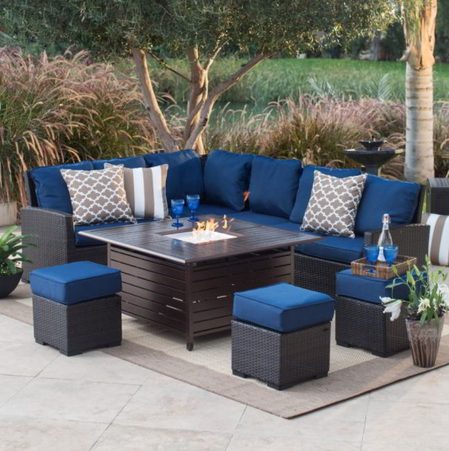 Removeable fire pit furniture deck