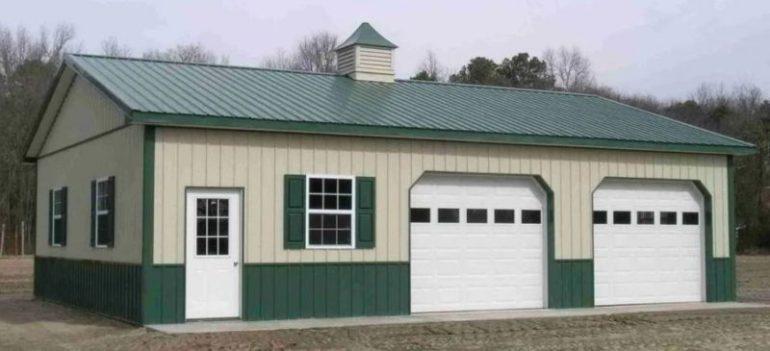 Metal Building with Two Garage Doors
