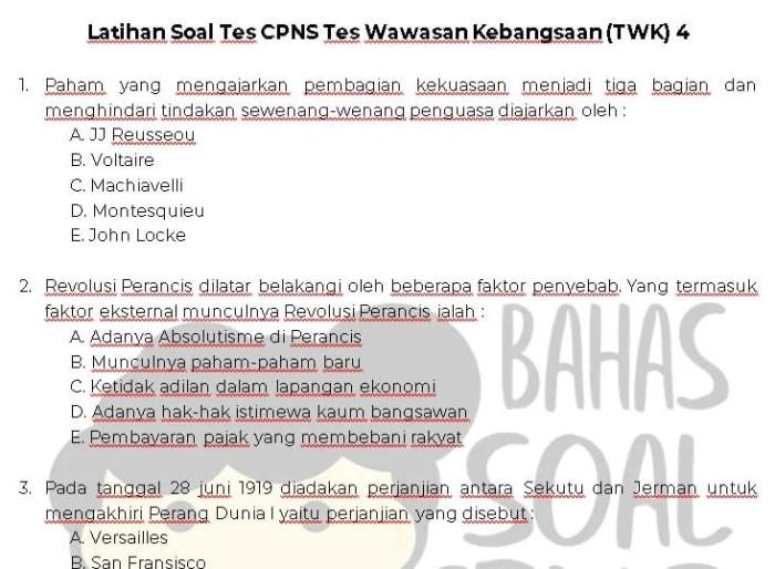 Latihan Soal Tes CPNS ASN Tes Wawasan Kebangsaan TWK