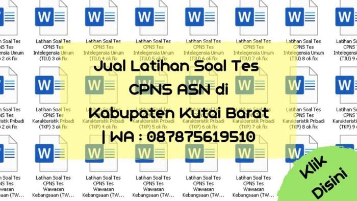 Soal Tes CPNS ASN di Kabupaten Kutai Barat