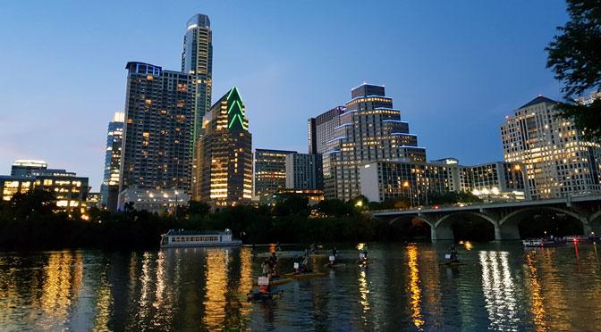 «Skyline» de Austin al atardecer desde un Samsung Galaxy S8+