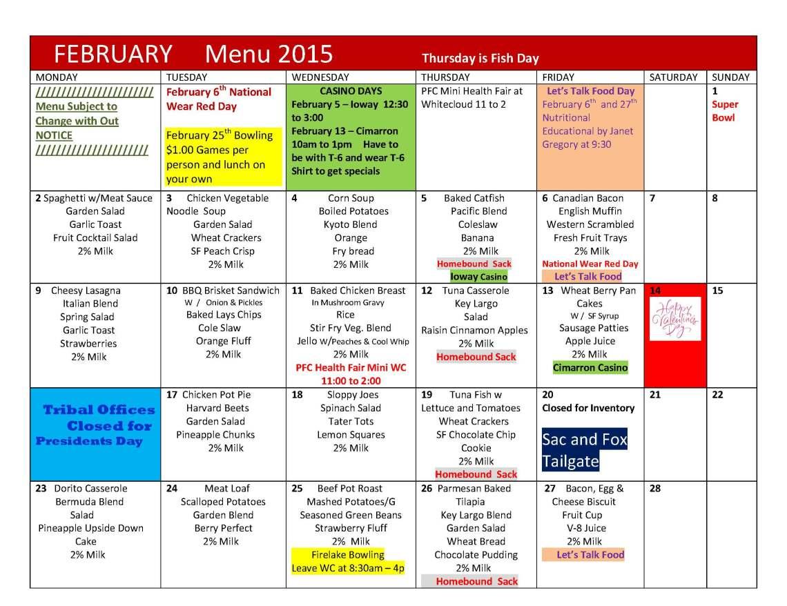 Menu FEBRUARY 2015  Menu