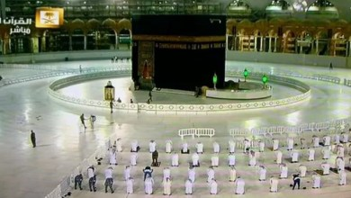 Photo of شاهد بالمسجد الحرام.. تطبيق التباعد بين المصلين خلال أداء صلاة التراويح