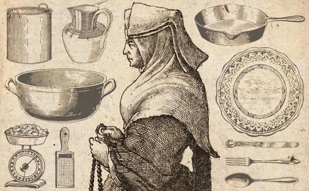 Monja clarisa (grabado del s. XVII) y utensilios de cocina.