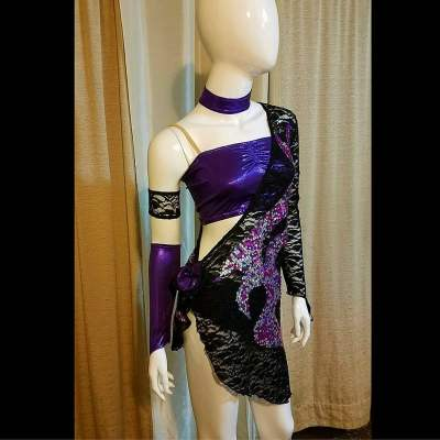 Purple Rain Latin Dance Dress, Baila Designs