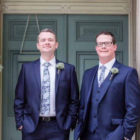Groom and best man country house wedding photography Settle