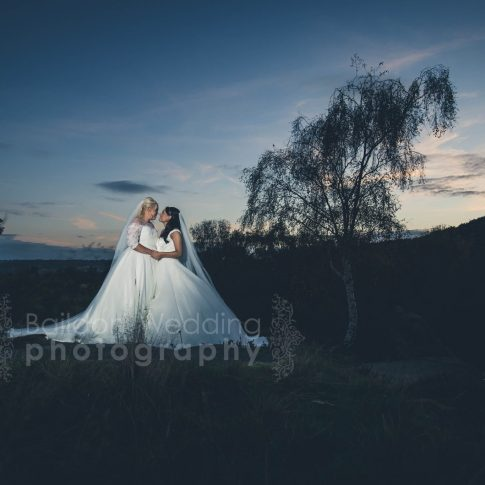 Lesbian wedding photography Yorkshire two brides