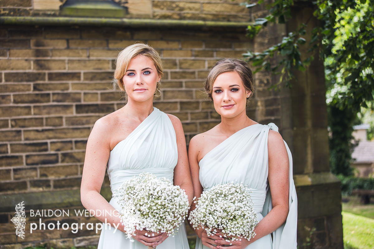 bridesmaids arrived at church ready for their friends wedding