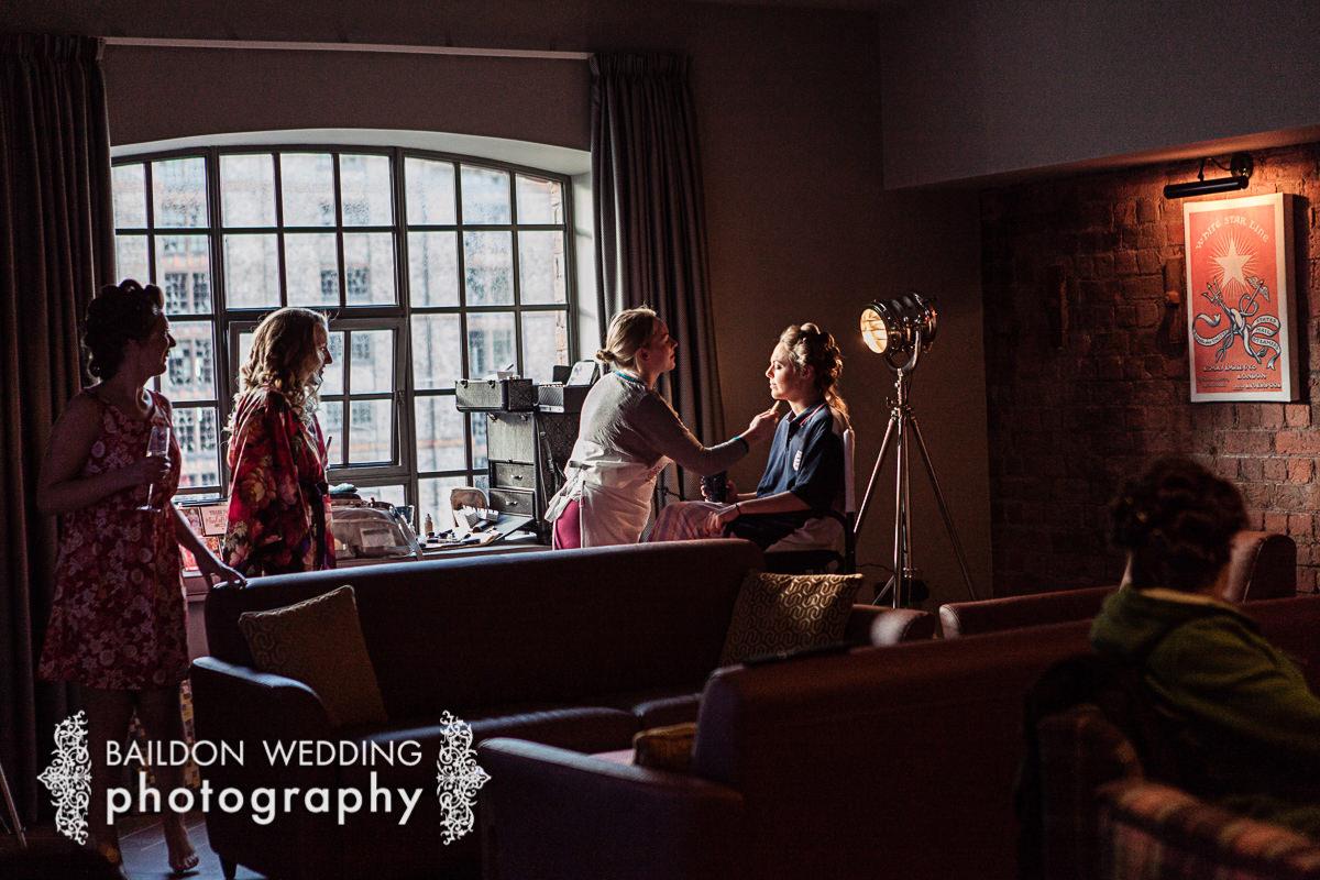 Bride getting ready Titanic Hotel Liverpool wedding photographer