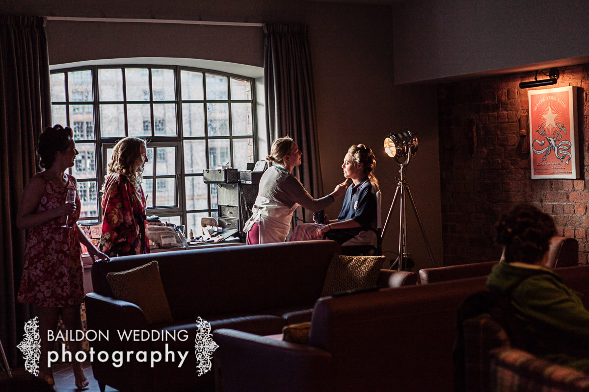 Bride getting ready Titanic Hotel Liverpool wedding photographer