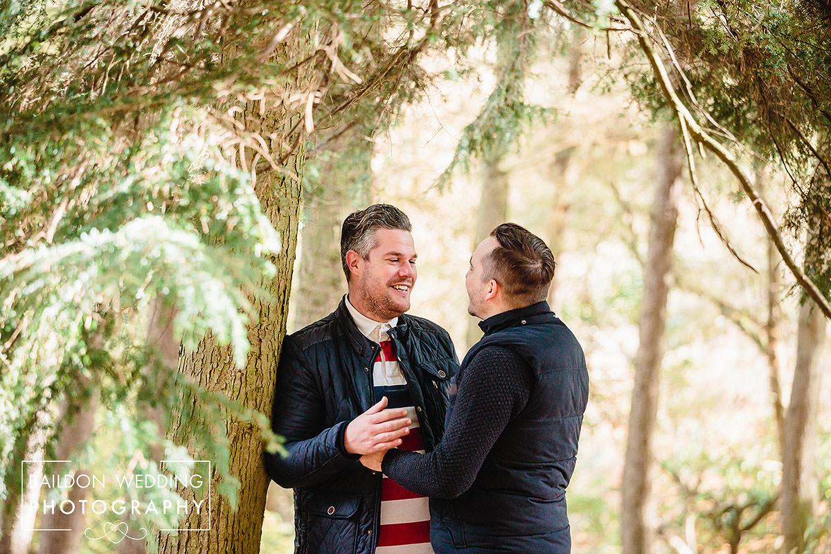Otley Chevin engagement cheerful Chilli barn wedding