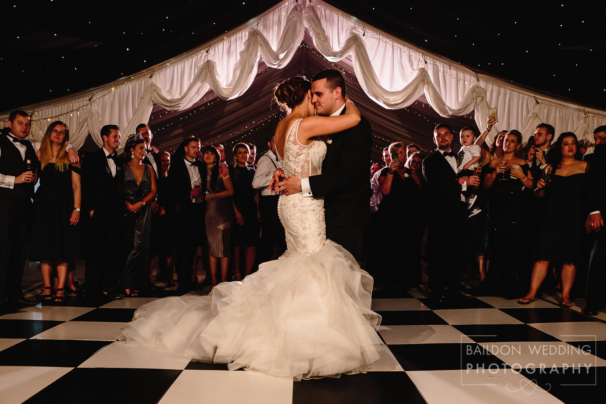 First dance at Priory cottages wedding on New Years Eve