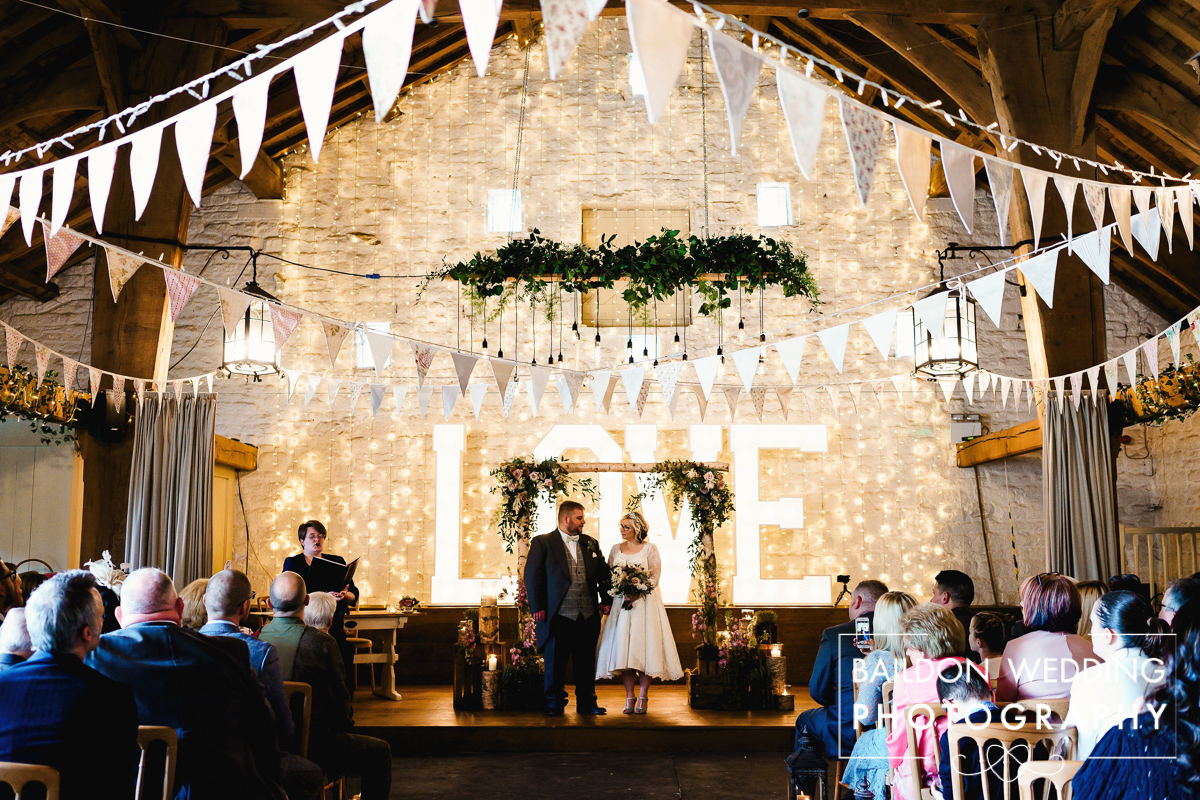East Riddlesden Hall wedding ceremony Airedale Barn