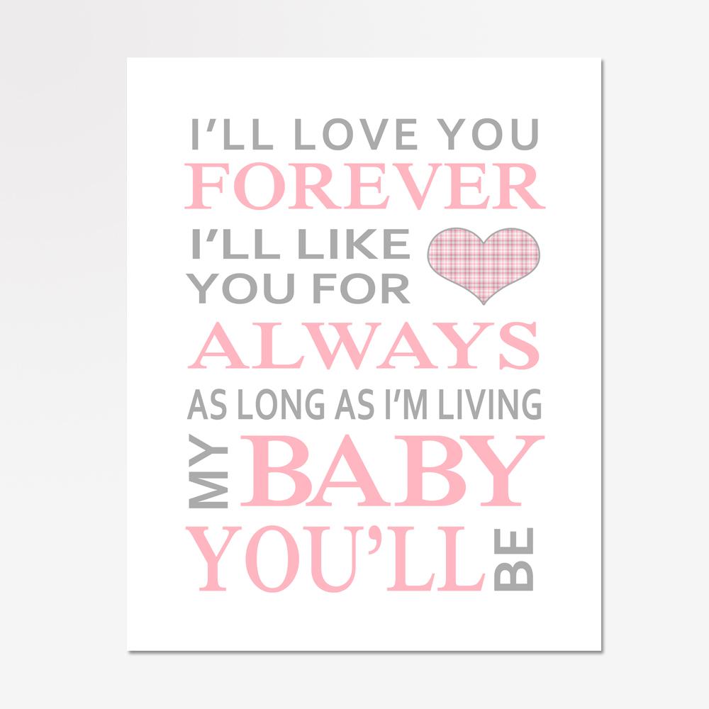 Download I'll Love You Forever Baby Girl Nursery Print | Bailemor