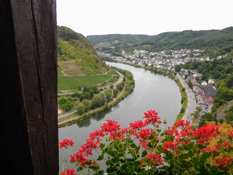 aerial view of Cochem from window with flowers in Reichsburg