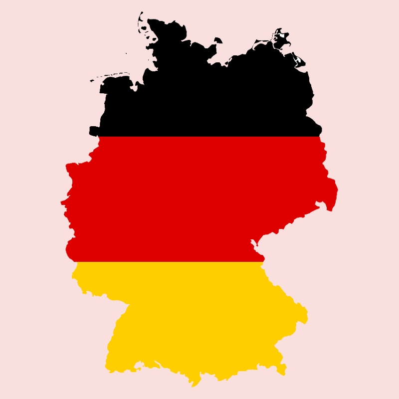 German Flag Colors in Outline of Country