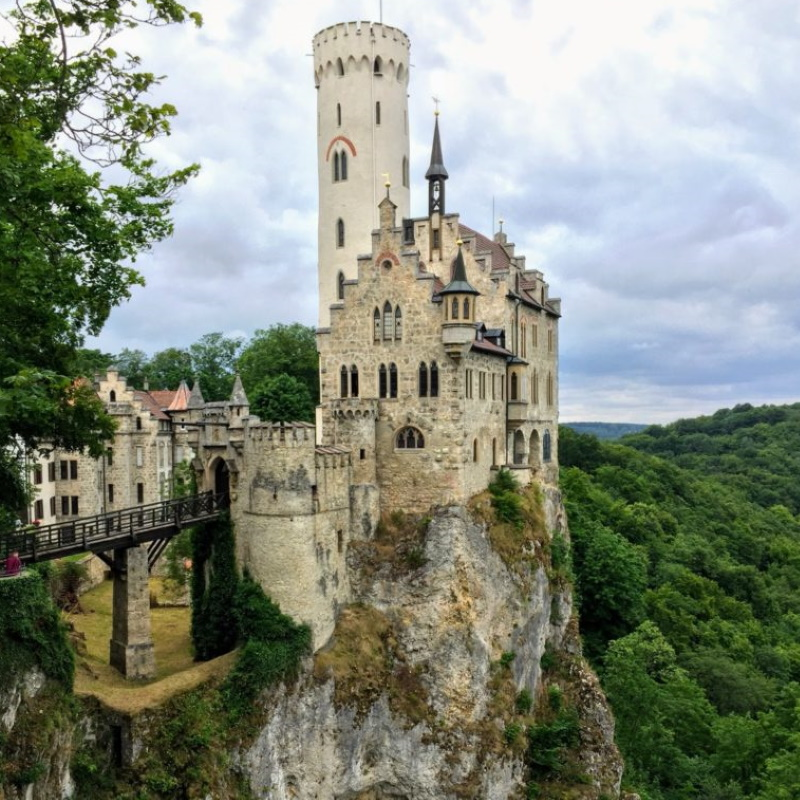 Lichtenstein Castle sits atop a rocky hilltop carved into mountain rock
