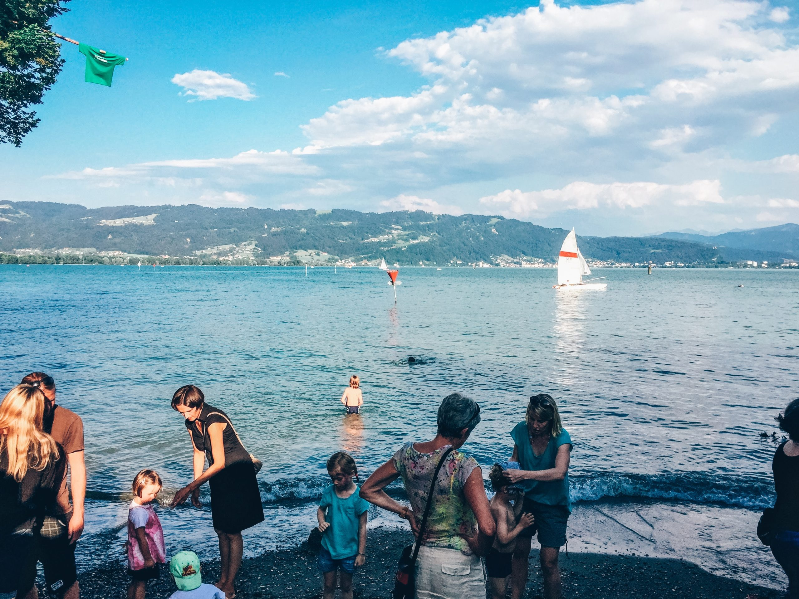 beach on Lake Constance (Bodensee) facing Austria