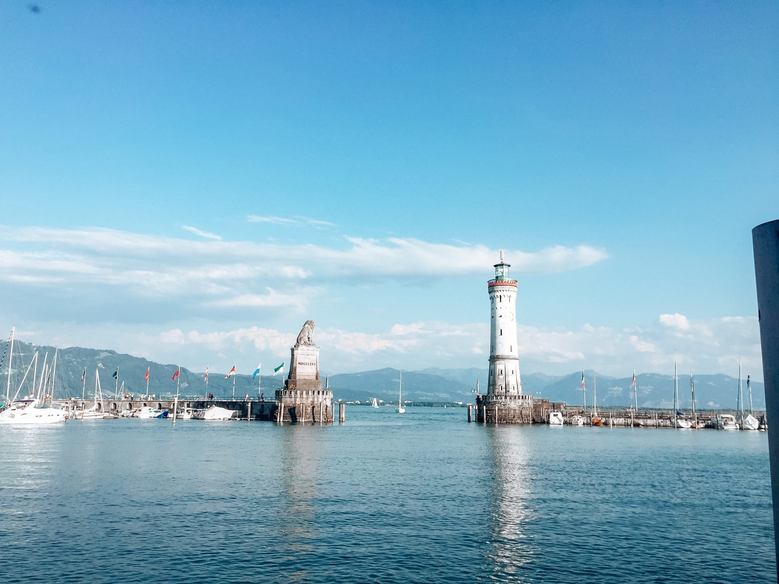 Lindau Lighthouse and Bavarian Lion Sculpture