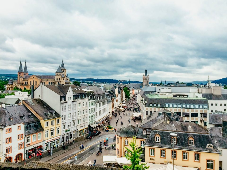 city view of Trier from upper floors of Porta Nigra