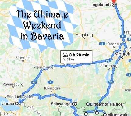 map of road trip through Bavaria