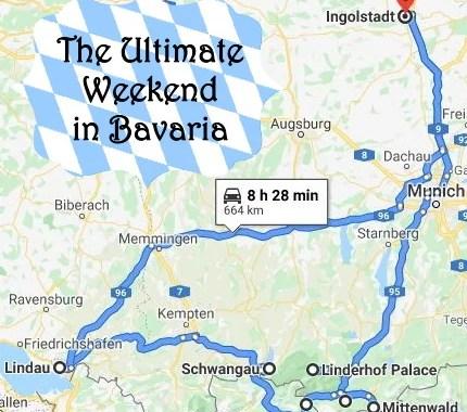 map of road trip through Bavaria