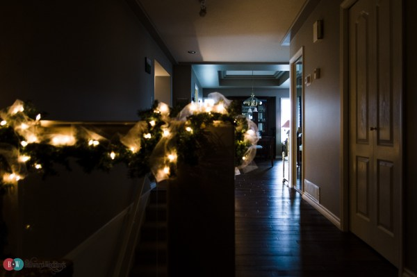 Home wedding with lights in hallway