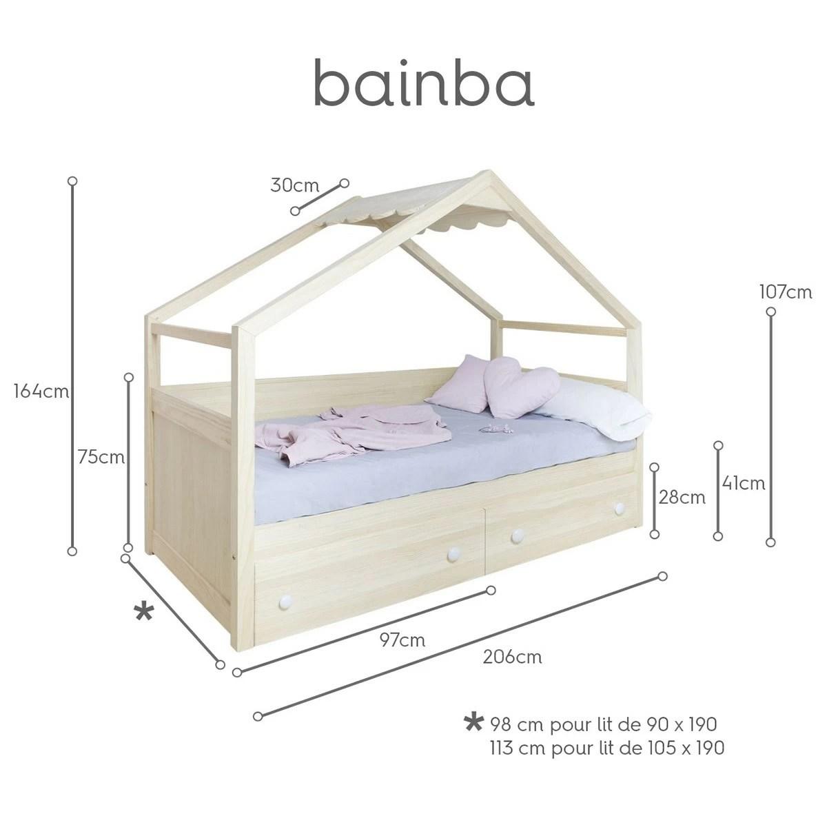 lit cabane avec rangement en bois