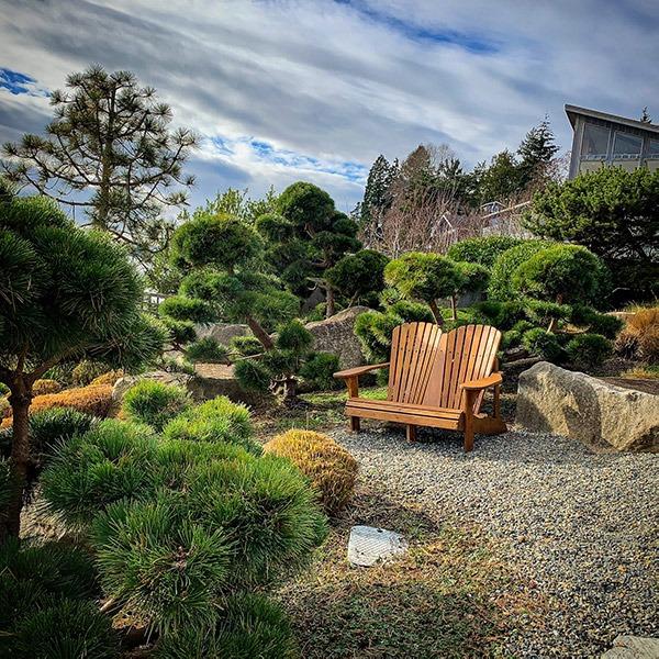 Chairs in landscaped garden