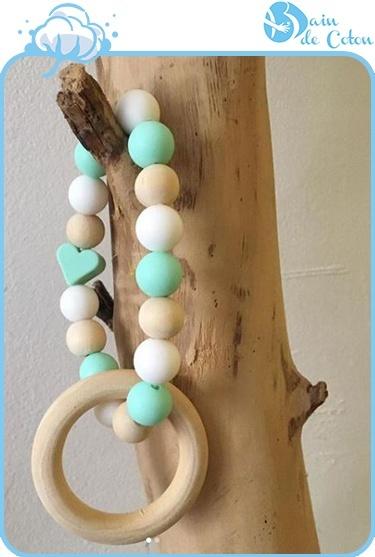 anneau de dentition vert-blanc-bois