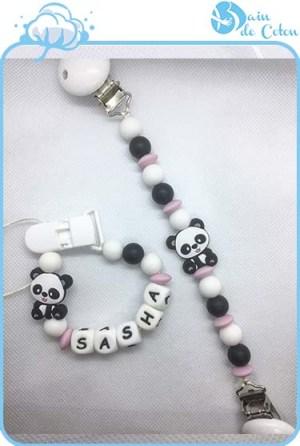 Coffret attache doudou-attache sucette Sacha-modèle panda