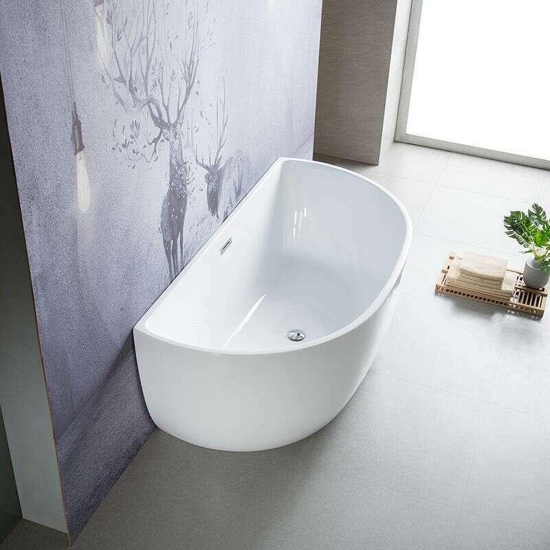 baignoire ilot murale en acrylique 150 cm bella