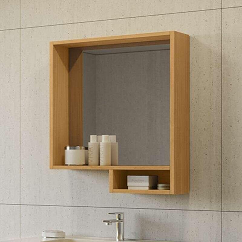 Miroir Avec Etagere 60 Cm Aspect Teck Lago
