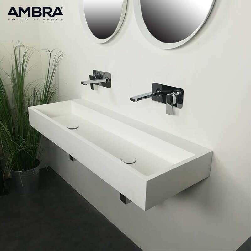Vasque Double Rectangulaire 120 Cm En Solid Surface Composite Blanc Samoa