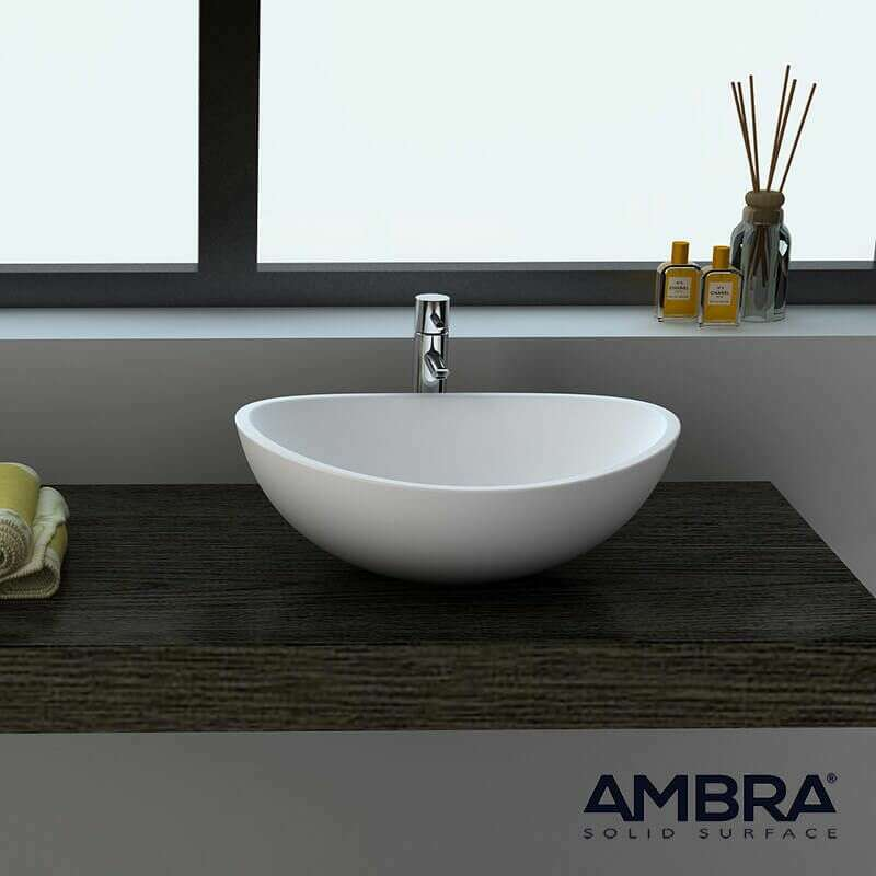Vasque Ovale En Solid Surface Composite Blanc Ovea