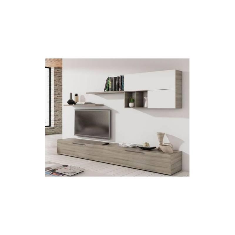 meuble tv sandra 200 35 bois mdf blanc chene