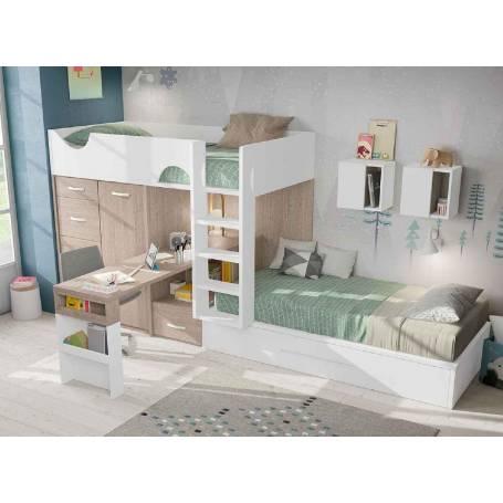 chambre enfant avec lit superpose chene et blanc