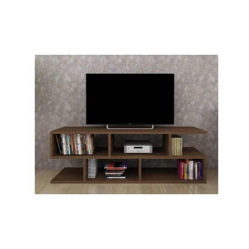 meuble tv moonlife bois mdf stratifiee 120 45 35 cm marron