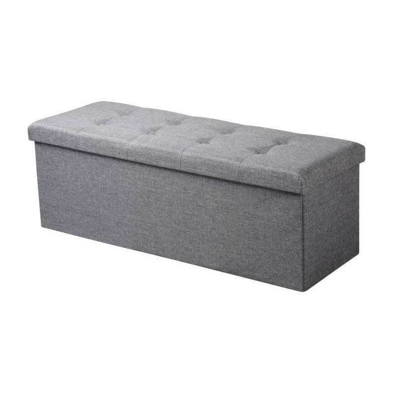 pouf coffre de rangement gris