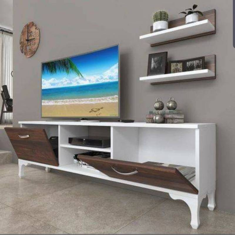 table tv classico 2 etageres blanc marron effet bois